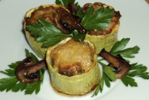 рецепты из кабачков фаршированные грибами