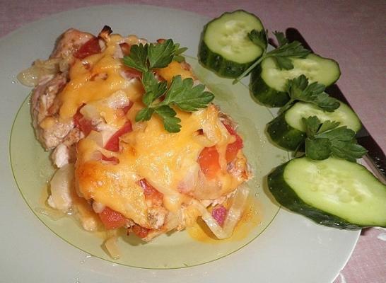 Куриные окорочка в духовке с помидорами