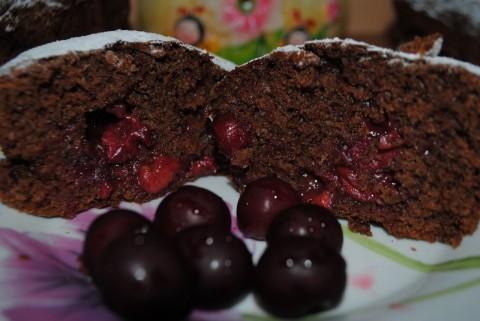 Постные шоколадные кексы с вишней рецепт