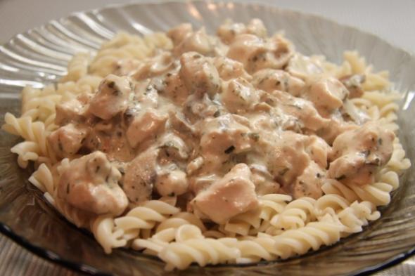Макароны с курицей и грибами рецепт с пошагово