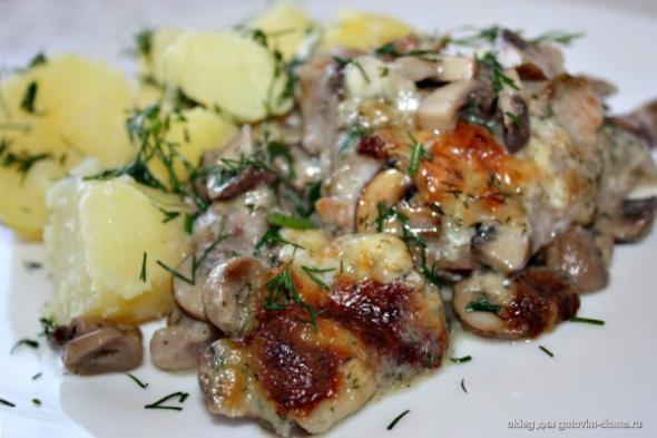 Свинина тушеная грибами рецепт фото